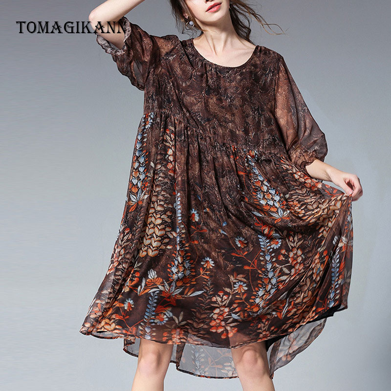 2019 Spring Large Size Print Floral Chiffon Loose O Neck Knee Length Elegant Women Dresses Female Casual Dresses Vestidos in Dresses from Women 39 s Clothing