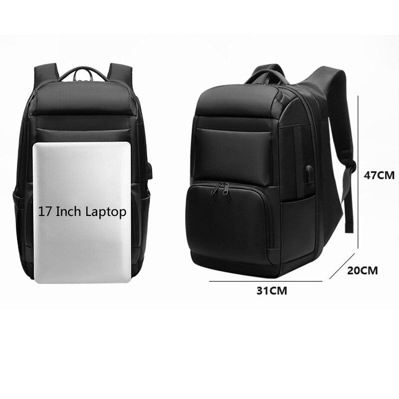 Sac à dos de luxe pour hommes d'affaires pour voyage sacs à dos d'ordinateur portable de 17 pouces pour hommes sac à dos anti-vol sac à dos mâle usb cartable - 4