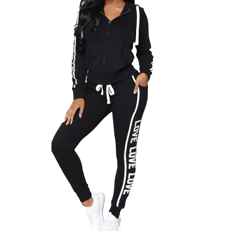 2018 Fashion New 2Pcs Women's Tracksuit Hoodie Sweatshirt Tops Pants Set Casual Sports Sweat Suit