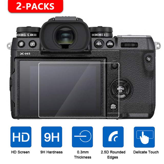 2Pcs Tempered Glass Screen Protector for Fujifilm X T1 X T2 X T3 X H1 X T100 X T20 X T10 XF10 X E3 X70 X Pro2 X Pro1 X100T X100F