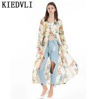 KIEDVLI Floral Pattern European Style Blouse Women Spring Kimono Vintage Retro Open Stitch Design Long Blusas