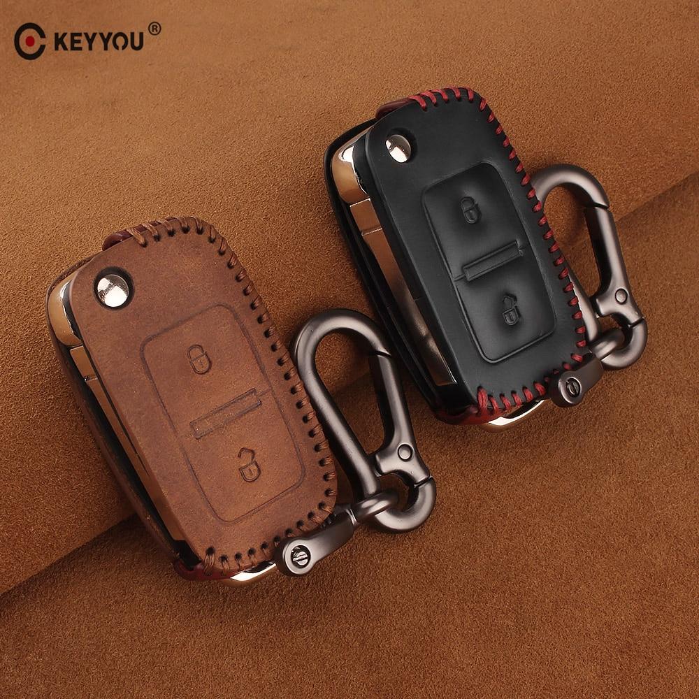 KEYYOU 2 Buttons Leather Car Key Case Cover For VW Volkswagen Polo Golf MK4 Passat Bora Jetta Altea Touran Transporter Sharan