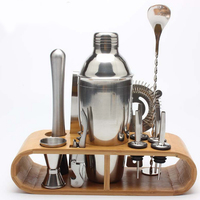 Cocktail Shaker Set With Bamboo Stand Stainless Steel Mixer Martini Spirits Bar Spoon Tongs Jigger Strainer Muddler Pourer 3