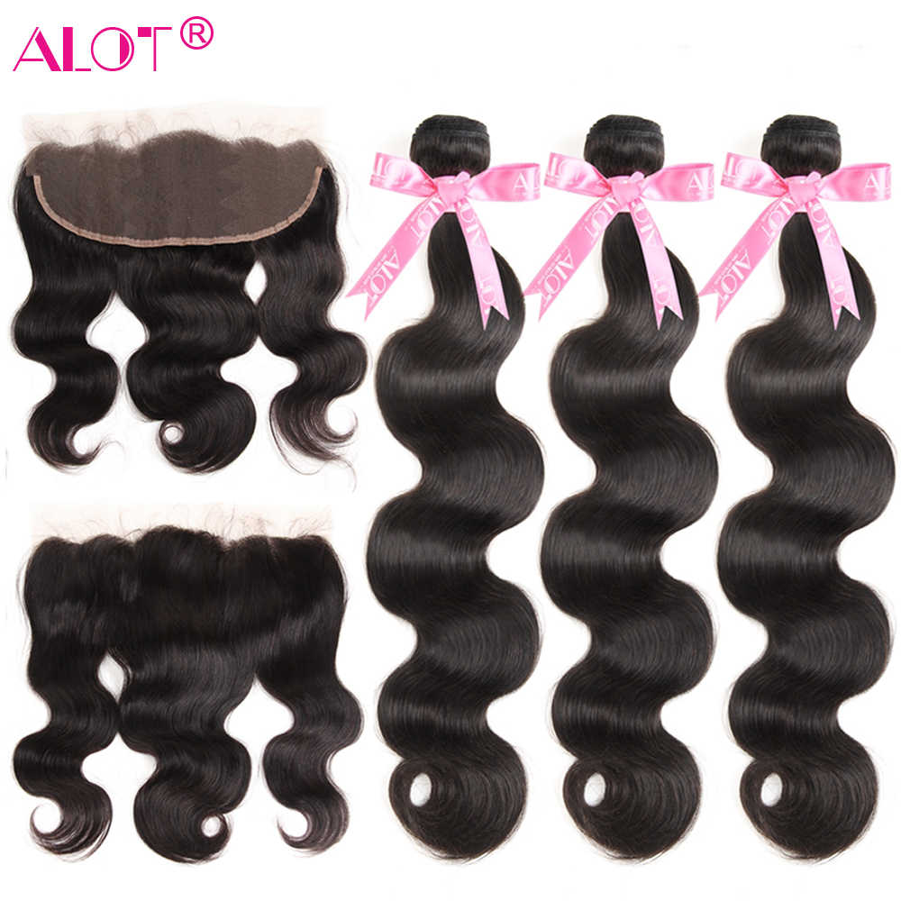Alot Brazilian Body Wave Bundles With Frontal 13x4 Ear To Ear Lace Frontal Closure With Bundles Human Hair Weave Non Remy 4 Pcs