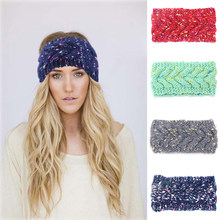 Women Knitted Woolen Headband Stretch Winter Thick Warm Crochet Hair Bands  For Adult Lady Cross Fashion c1500346370