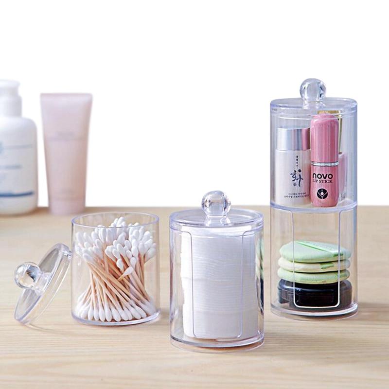 XZJJA Transparent Double Layer Makeup Organizers Cosmetic Storage Box Desktop Cotton Swabs Cosmetic Make Up Organize Case