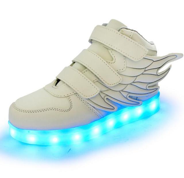 2016 nova cesta de carregamento usb led crianças shoes com light up crianças boys & girls sneakers luminosos casuais sapato asa hook & loop