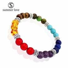 7 chakra healing beaded bracelet lava stone diffuser bracelet armbanden voor vrouwen 2018