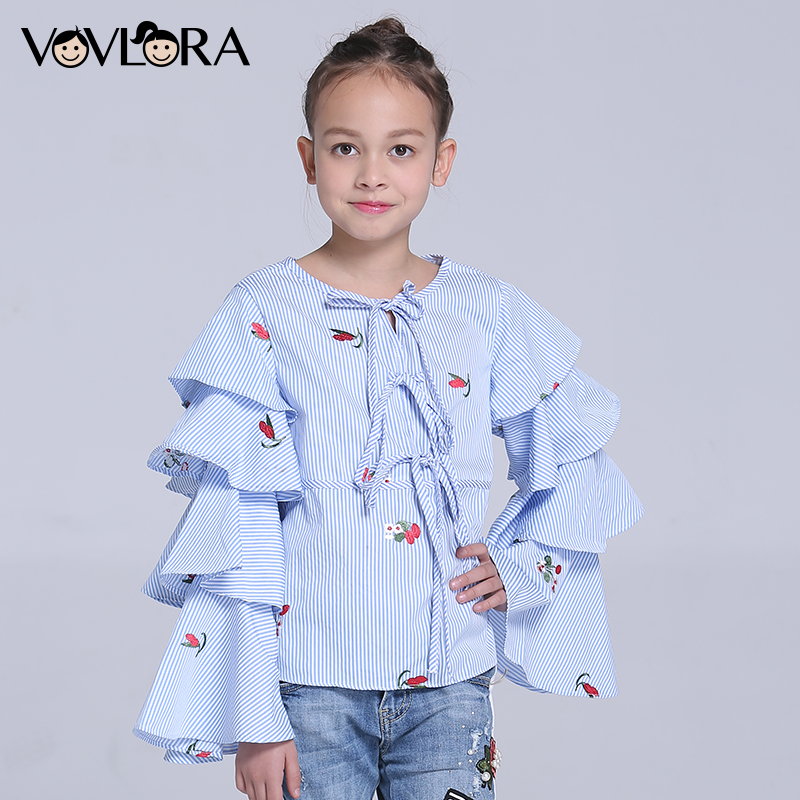 Children Blouses O-neck Woven Striped Gilrs Blouse Shirt Long Sleeve Floral Kids Clothes Spring 2018 Size 7 8 9 10 11 12 Years цены онлайн