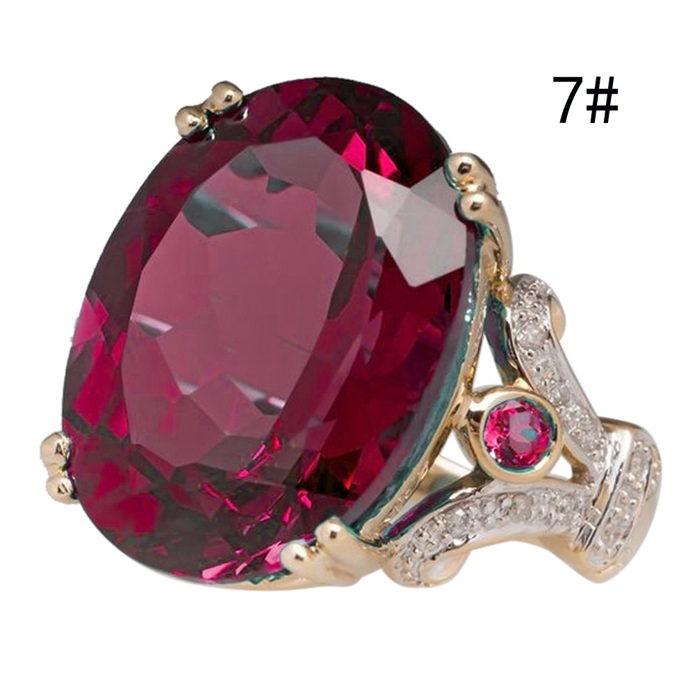 FREE Jewelry Fashion round wine red gems ladies ring 6