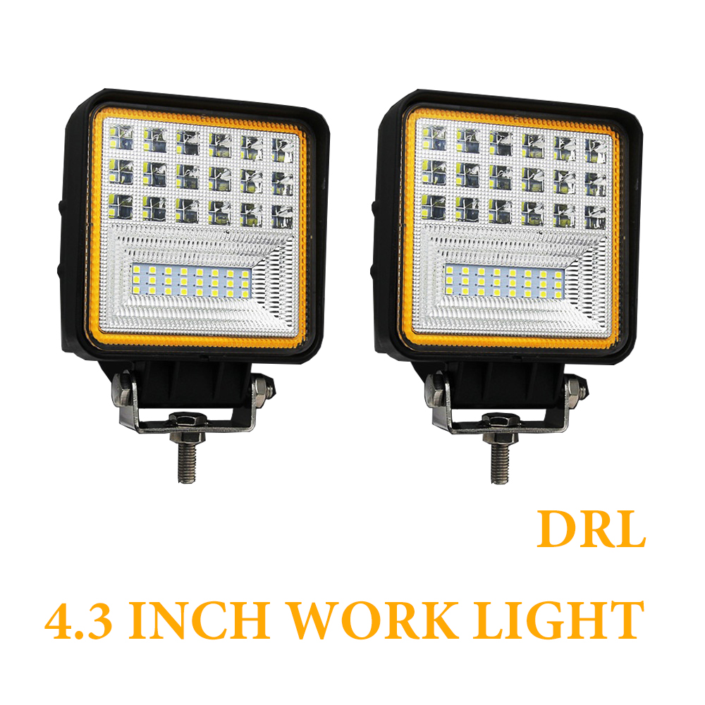 2pcs Led Driving Light 4.3 Inch Flood Beam 12V Led Work Light Bar Angel Eyes 24V DC 6000K 3000K for Lada Kamaz Mining Farm2pcs Led Driving Light 4.3 Inch Flood Beam 12V Led Work Light Bar Angel Eyes 24V DC 6000K 3000K for Lada Kamaz Mining Farm
