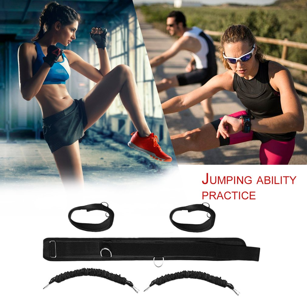 Durable Men Women Bounce Trainer Rope Basketball Tennis Running Leg Strength Training Resistance Band Strap Black HOT