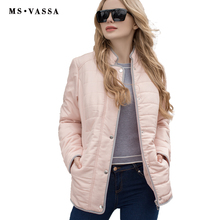 MS VASSA Women Jacket 2017 New Autumn Spring Coats stand up collar plus size 5XL 6XL Zipper at front with press button