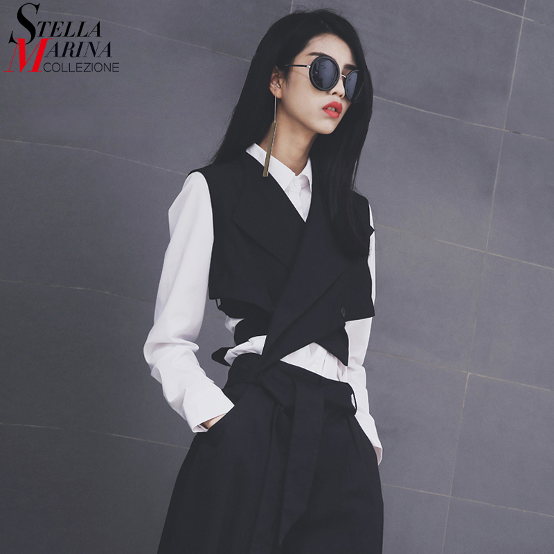 Nye 2018 europeiske mote kvinner Solid Black Vest Sashes Ermeløs Button Women Unique Jacket Girls Casual Waistcoat Style 1851