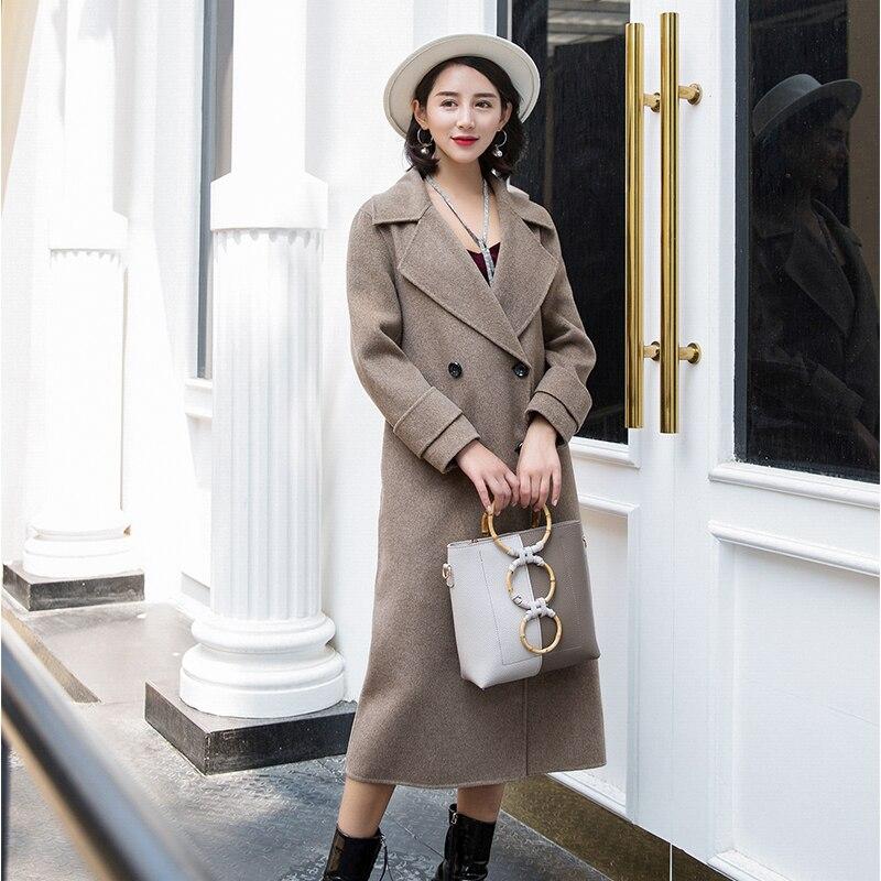 Doppia faccia cappotto di cachemire femminile 2018 nuova sezione lunga delle donne di alta-end sottile di autunno e di inverno di lana cappotto