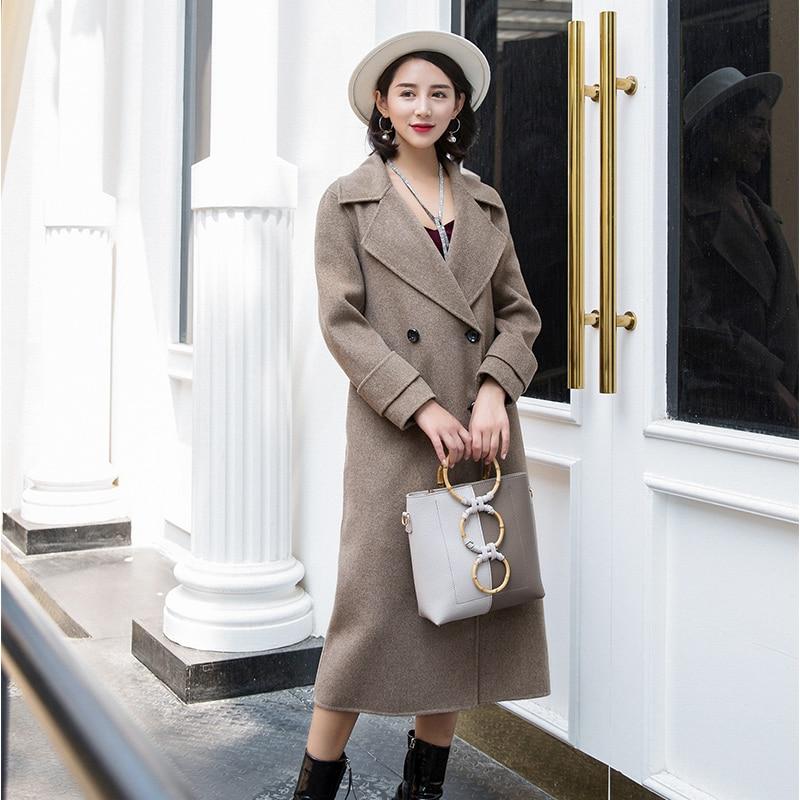 Double-face en cachemire manteau femelle de 2018 nouvelles femmes longue section haut de gamme mince automne et d'hiver de laine manteau