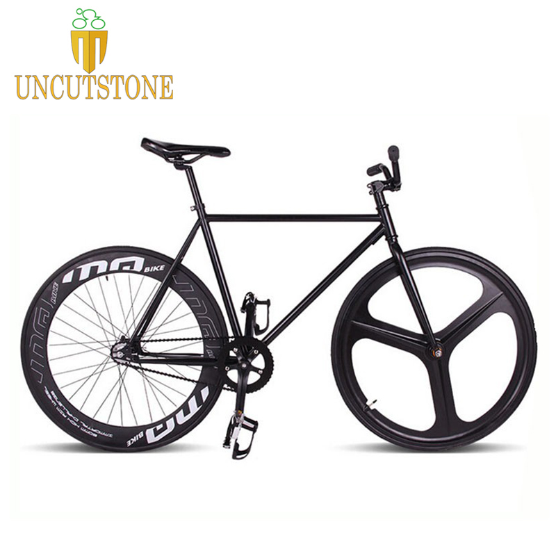 Magnesium Alloy Wheel 3 Spokes Fixie Bicycle, Fixed Gear Bike 700C *23 70mm Rim  52cm FRAME  DIY BIKE Complete Road Bike