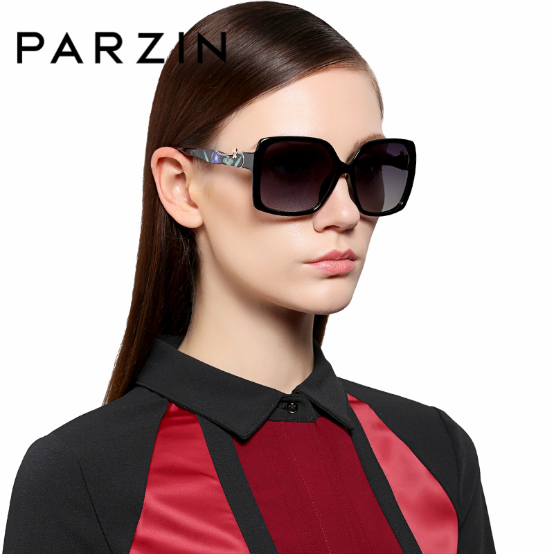 PARZIN Brand Elegant Printing Frame Sunglasses For Women Square Big Frame Polarized Sun Glasses For Driver