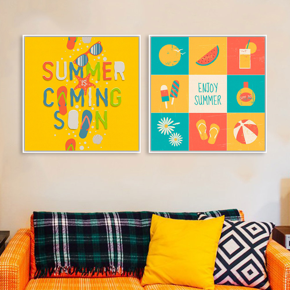 3 Modern Colorful Summer Beach Surf Quotes Typography Pop Poster Prints Hipster Hippie Home Canvas Painting Wall Art Decor Gifts