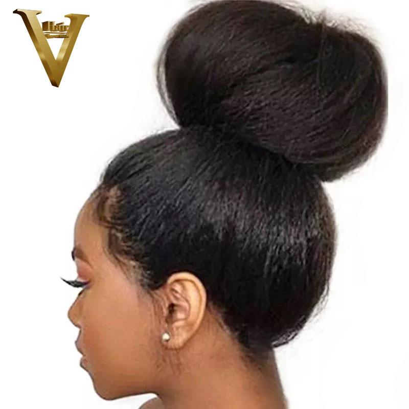 13x6 Kinky Straight Lace Front Human Hair Wigs Pre Plucked 150 Density Brazilian Remy Italian Yaki