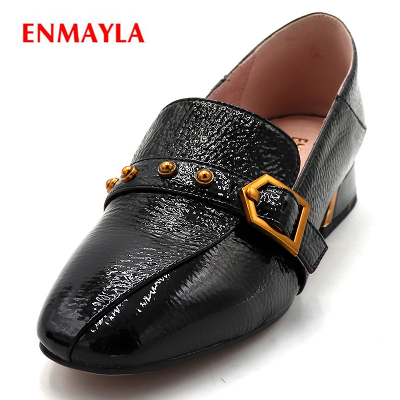 ENMAYLA Plus Size Genuine Leather Ladies Shoes Round Toe Summer Pumps Slip-on Ladies Shoes Med Heels Pumps Women Shoes nayiduyun women genuine leather wedge high heel pumps platform creepers round toe slip on casual shoes boots wedge sneakers