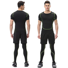 Men Running Shorts T shirt Tights Black with Lines Quick Dry Yoga Sportswear Sport Set Fitness