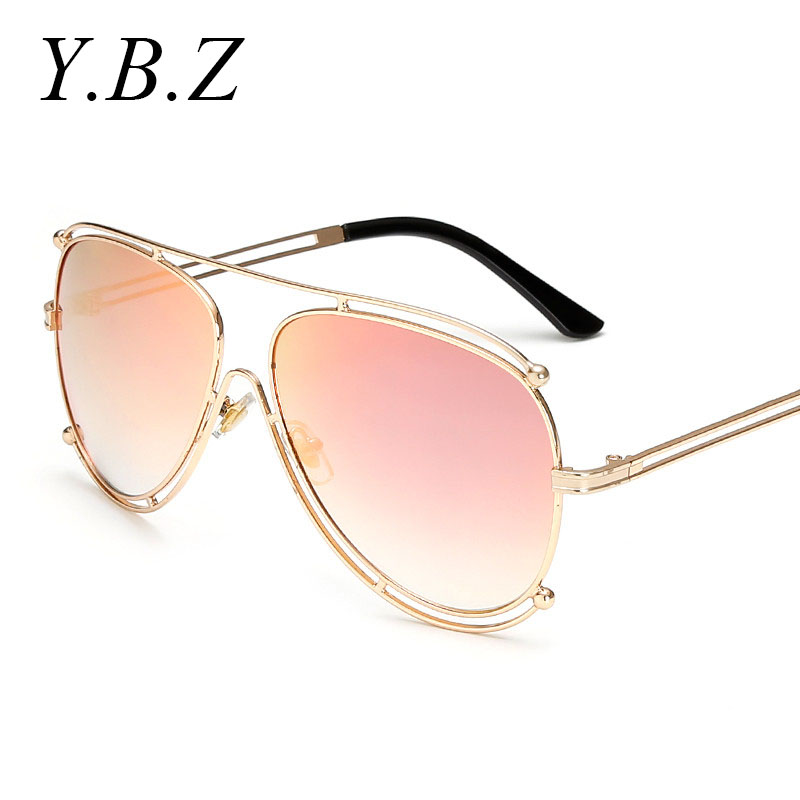 ybz sunglasses women pink gold frame mens openwork hollow wire design brand summer style retro sun
