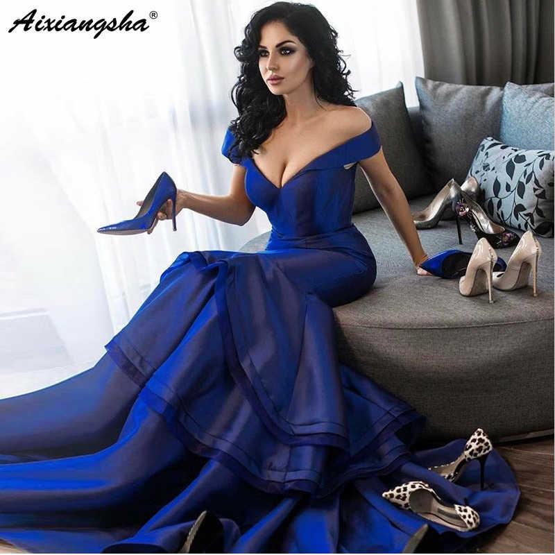 Abendkleider V ネックオフショルダースイープトレインツーピースロイヤルブルーウエディングドレスマーメイドイブニングドレスロング