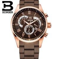 손목 시계 남성 석영 군사 시계 남성 크로노 그래프 시계 최고 브랜드 명품 시계 Binger 라운드 50 메터 방수
