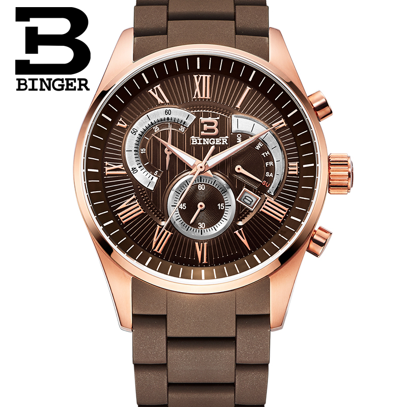 ФОТО Wristwatches Men's Quartz Military Watches Mens Chronograph Watches Top Brand Luxury Watch Binger Round 50M Water Resistant