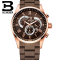 Wristwatches Men's Quartz Military Watches Mens Chronograph Watches Top Brand Luxury Watch Binger Round 50M Water Resistant