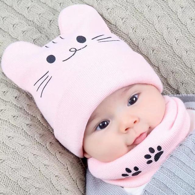 DreamShining bebé recién nacido sombrero conjunto de dibujos animados gato  sombreros cálidos de otoño e invierno 6692434f312