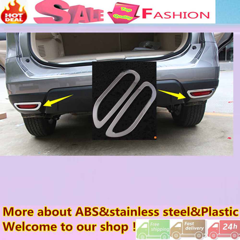 High quality car styling cover detector abs chrome rear tail fog light trim frame 2pcs accessories