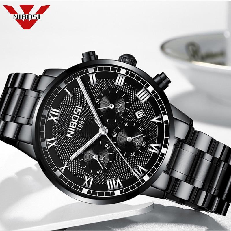 2019 New Watches Men Luxury Brand NIBOSI Men Sports Watches Waterproof Full Steel Black Quartz Men's Watch Relogio Masculino Quartz Watches     - title=