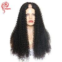 Hesperis 150 плотность человеческих волос у части парик для женщина индийского ни Волосы remy U часть парики 1*3 дюйма открытие