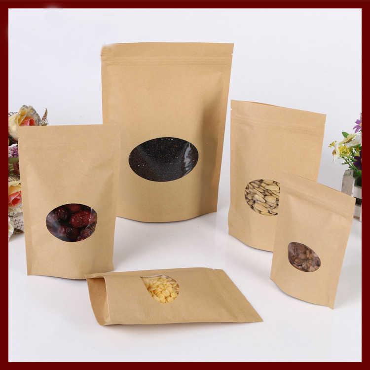 100 шт./лот коричневый мешок крафт-бумаги с круглым окном встать молния/почтовый замок ювелирные изделия Упаковка Сумка бумажные пакеты для подарки/чай в пакетиках