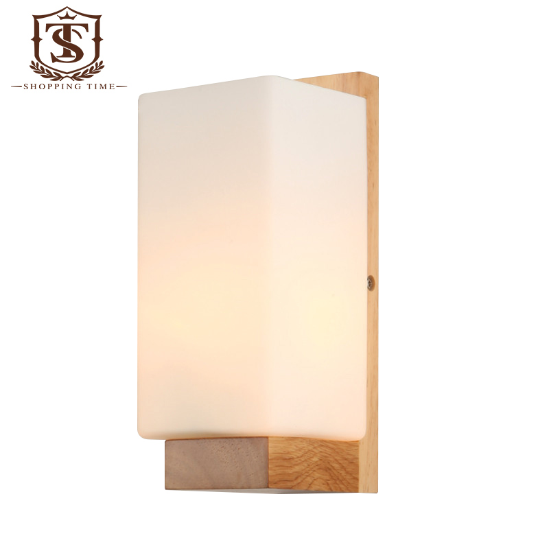 Led modern wood wall lamp glass shade wall sconce bedroom corridor led modern wood wall lamp glass shade wall sconce bedroom corridor wall mounted lights pw029 in led indoor wall lamps from lights lighting on mozeypictures Image collections