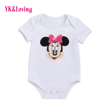 цена на 0-2years Popular Cute Girls Romper Minnie Patern White Girl Baby Clothes High Quality Romper Free Shipping 2016 New Arrival