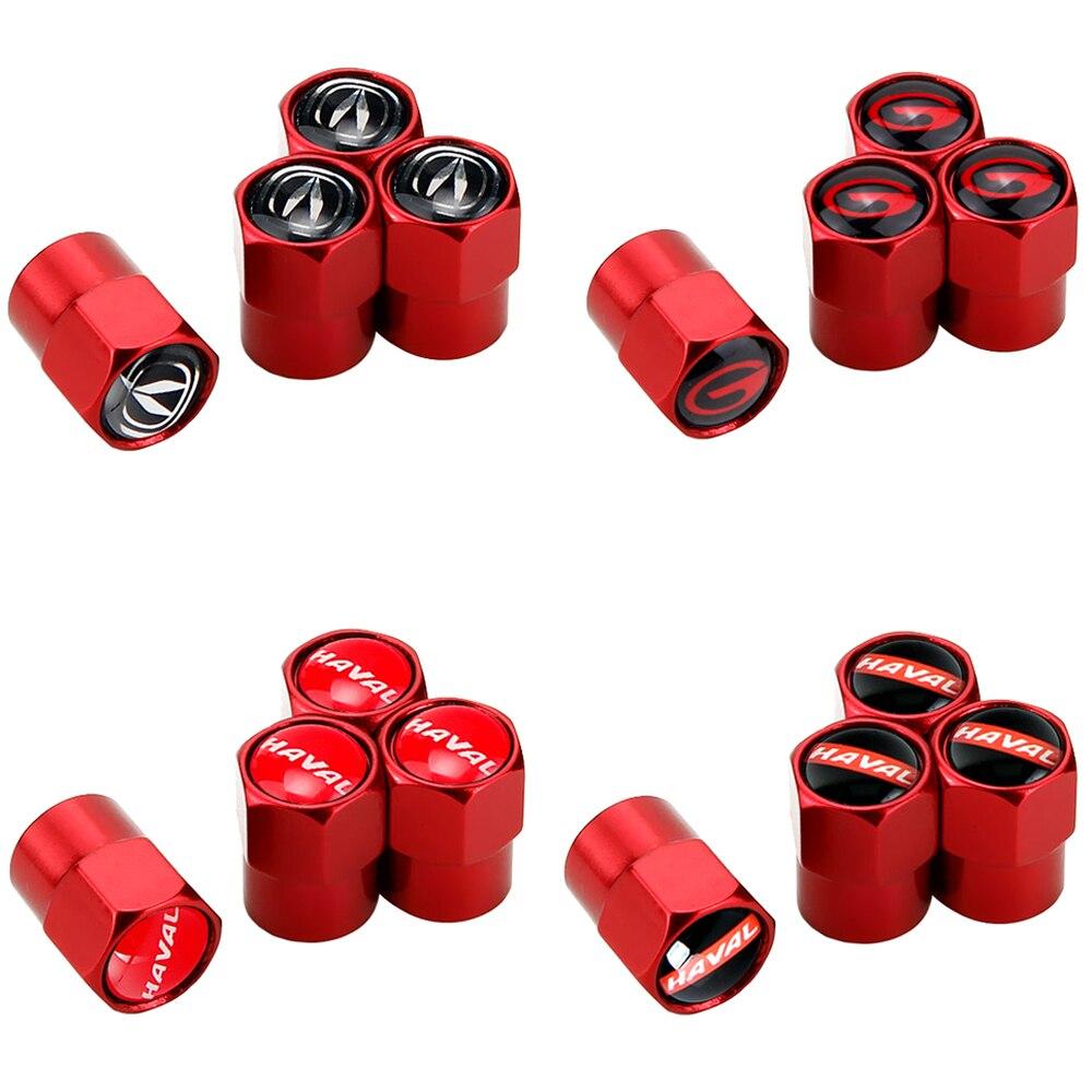 For Trumpchi Gs4 Gs5 Changan CS35 CS75 Haval Tabanca H2 H5 H9 H4 H6 M4 Tire Tyre Valve Caps Dust Emblem Red Auto Accessories