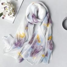 여성을위한 진짜 실크 스카프 2020 새로운 패션 꽃 인쇄 Shawls 및 랩 얇은 긴 Pashmina 숙녀 Foulard Bandana Hijab 스카프