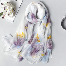 Real Silk Scarf for Women 2020 New Fashion Floral Print Shawls and Wraps Thin Long Pashmina Ladies Foulard Bandana Hijab Scarves