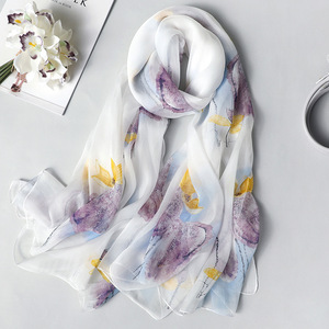 Image 1 - Real Silk Scarf for Women 2020 New Fashion Floral Print Shawls and Wraps Thin Long Pashmina Ladies Foulard Bandana Hijab Scarves