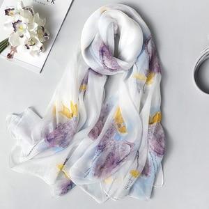 Image 1 - Real Zijden Sjaal Voor Vrouwen 2020 Nieuwe Mode Bloemenprint Sjaals En Wraps Dunne Lange Pashmina Dames Foulard Bandana Hijab sjaals