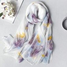 Szalik z naturalnego jedwabiu dla kobiet 2020 nowe modne kwiatowe szale z nadrukiem i okłady cienka, długa Pashmina damska chustka na szyję chustka hidżab