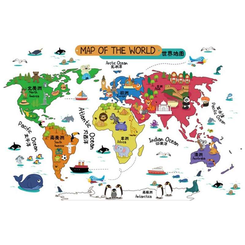 children puzzle coloed world map trip attractions 3d pvc wall stickers for kids rooms decoration. Black Bedroom Furniture Sets. Home Design Ideas