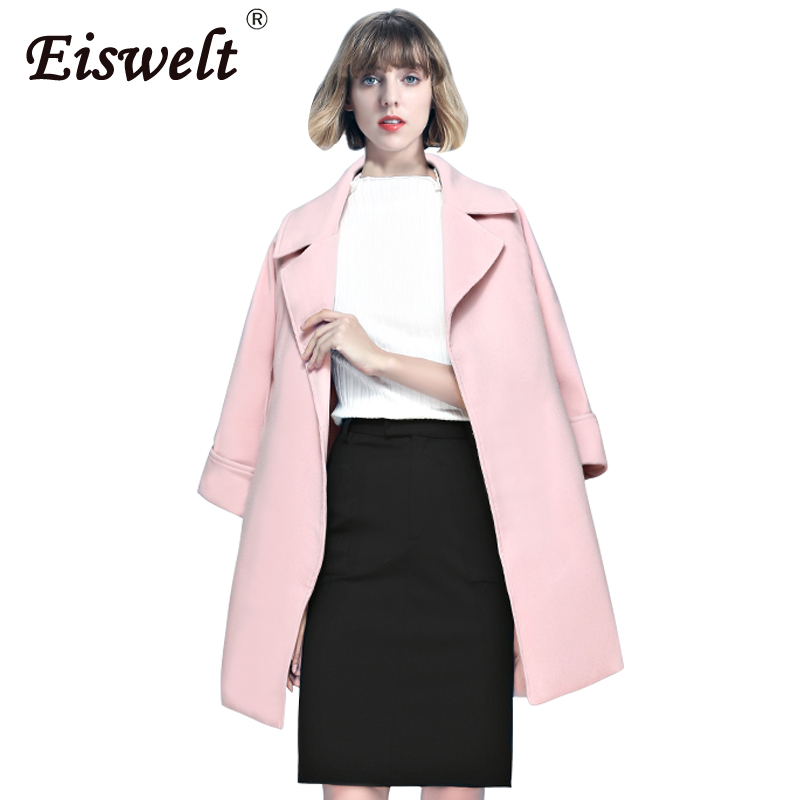 High Quality Winter Women Coat with Belt Turn down Collar Autumn Jacket  Women Pink Trench Coat Manteau Femme-in Wool   Blends from Women s Clothing  on ... 105df3dfbd
