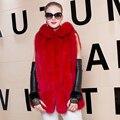 Large Size 2016 New Winter Genuine Fox Fur Hooded Vest Fashion Waistcoat Gilet Real Fur Vest Female Long Jacket Sleeveless Vest