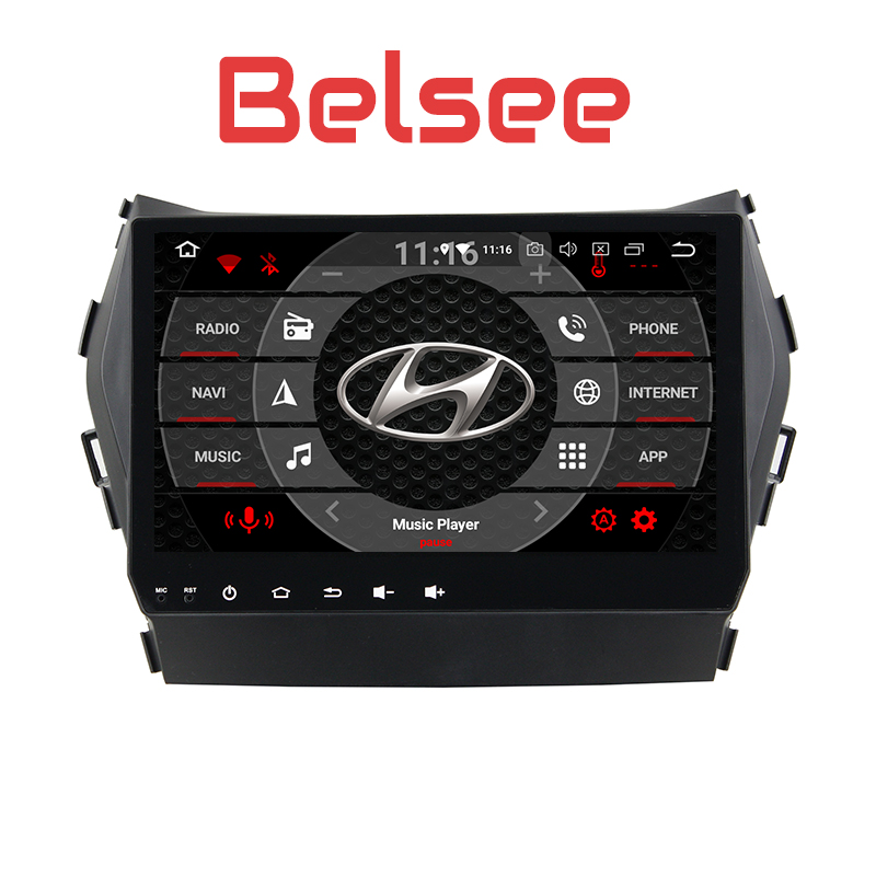 Belsee 2013 2014 2015 2016 Santa Fe ix45 Android 8.0 Oreo Auto Head Unit DVD GPS Multimedia Player Stereo Navigation System 4GB
