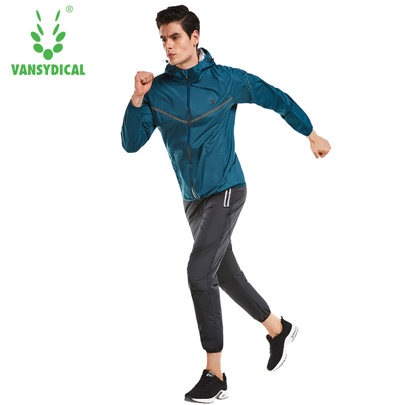 Vansydical Mens Sweatshirt Sweat Suits Sports Running Sets Gym Workout Suit Jacket Pants Set Lose Weight Tracksuit Jogging Suit vansydical men sweat suit 2017 new winter cycling running gym training clothes windproof hooded jacket coat sports pants s xxxl