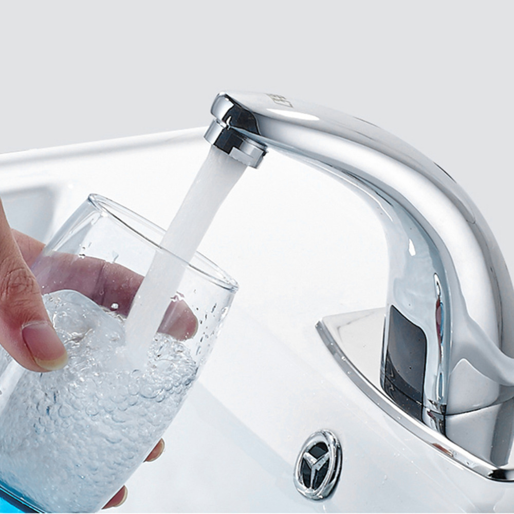 Free Touchless Automatic Inflared Sensor Faucet for Bathroom Sink Water Saving Inductive Electric Water Tap Mixer xueqin automatic inflared sensor faucet cold hot water bathroom sink copper water saving inductive tap deck mount with hose